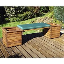 Charles Taylor Deluxe Planter Bench with Green Cushion