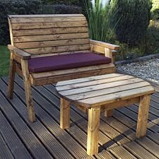 Charles Taylor Deluxe Bench Set with Burgundy Cushions
