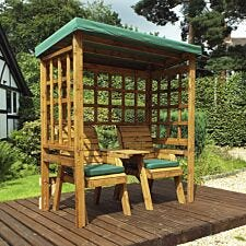 Charles Taylor Henley Twin Seat Arbour with Green Roof Cover and Cushions