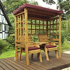 Charles Taylor Henley Twin Seat Arbour with Burgundy Roof Cover and Cushions