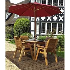 Charles Taylor 4 Seater Round Table Set with Burgundy Cushions, Storage Bag, Parasol and Base