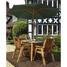 Charles Taylor 4 Seater Rectangular Table Set with Cushions, Storage Bag, Parasol and Base