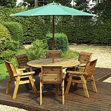 Charles Taylor 6 Seater Round Table Set with Cushions, Storage Bag, Parasol and Base