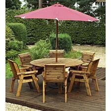Charles Taylor 6 Seater Round Table Set with Burgundy Cushions, Storage Bag, Parasol and Base