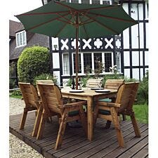 Charles Taylor 6 Seater Rectangular Table Set with Green Cushions, Storage Bag, Parasol and Base