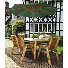 Charles Taylor 6 Seater Bench Table Set with Green Cushions, Storage Bag, Parasol and Base