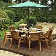 Charles Taylor 8 Seater Round Table Set with Green Cushions, Storage Bag, Parasol and Base