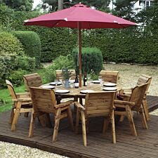 Charles Taylor 8 Seater Round Table Set with Burgundy Cushions, Storage Bag, Parasol and Base