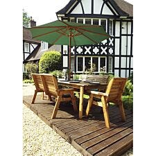 Charles Taylor 8 Seater Bench and Rectangular Table Set with Cushions, Storage Bag, Parasol and Base
