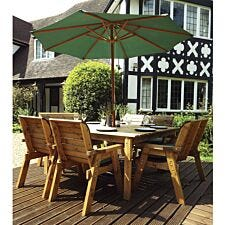 Charles Taylor 8 Seater Chair and Bench Square Table Set with Cushions, Storage Bag, Parasol and Base