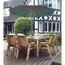 Charles Taylor 8 Seater Chair and Square Table Set with Cushions, Storage Bag, Parasol and Base