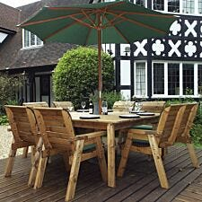 Charles Taylor 8 Seater Chair, Bench and Square Table Set with Cushions, Storage Bag, Parasol and Base