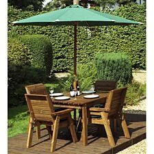 Charles Taylor 4 Seater Deluxe Square Table Set with Cushions, Storage bag, Parasol and Base