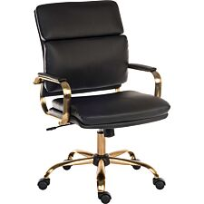 Teknik Office Vintage Executive Chair in Leather Look with Brass Coloured Metal Arm frame & Five Star Base - Black