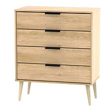 Hirato 4 Drawer Soft Oak Chest With Black Hairpin Legs