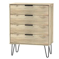 Hirato 4 Drawer Rustic Oak Chest With Black Hairpin Legs