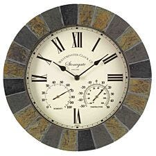 """Inside Out Stonegate 14"""" Clock & Thermometer"""