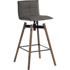 Teknik Spin Barstool with Grey Fabric Upholstery & Dark Wood Effect Legs