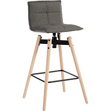 Teknik Spin Barstool with Grey Fabric Upholstery & Light Wood Effect Legs