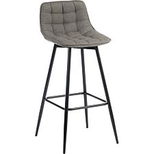 Teknik Quilt Barstool with Padded Grey Fabric Upholstery & Black Powder Coated Metal Legs