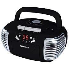 Groov-e Retro Boombox Portable CD & Cassette Player with Radio - Black