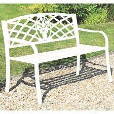 Greenhurst White Coalbrookdale Garden Bench with Cast Iron Insert