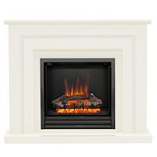 "Be Modern 48"" Whitham Electric Suite Timber Fireplace Heater - Soft White/Black"