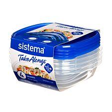 Sistema Take Alongs Rectangle - 669ml - 4 Pack