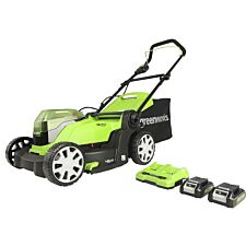 Greenworks 48v Cordless 41cm Lawnmower with Two 24v 2Ah Batteries & 2A Charger