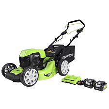 Greenworks 48v 46cm Self Propelled Cordless Lawnmower with Batteries & Dual Charger