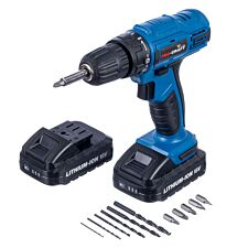 Pro-Craft 18V Li-Ion Cordless Drill Driver with 13-Piece Accessory Kit and 2 Batteries