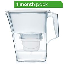 Aqua Optima Liscia Water Filter Jug including 1 x 30 Day Evolve+ Water Filter Cartridge - White