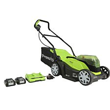 Greenworks 48V 36cm Lawnmower with Two 24v 2Ah Batteries and Charger