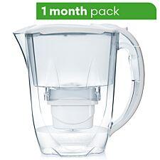 Aqua Optima Oria Water Filter Jug including 1 x 30 Day Evolve+ Water Filter Cartridge - White