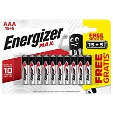 Energizer Max AAA 15 + 5 Pack