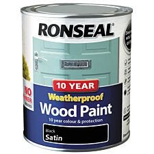 Ronseal 10 Year Weatherproof Black Satin Wood Paint