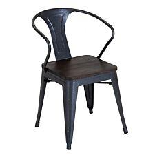 Charles Bentley Salvage Steel Arm Chair With Elm Wood Top - Metal Grey - Pair