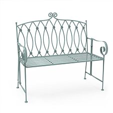 Charles Bentley Wrought Iron Bench - Sage Green