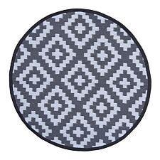 Charles Bentley Plastic Indoor/Outdoor Rug Small Round - Grey