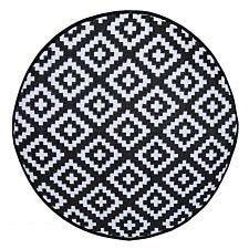 Charles Bentley Plastic Indoor/Outdoor Rug Medium Round - Black