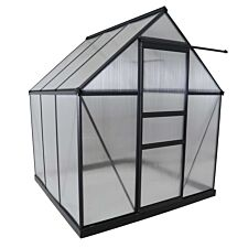 Charles Bentley 6' x 6.1' Auminium Framed Green House (with Zinc Steel Base included) - Grey