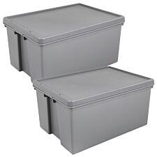 Bam Grey Heavy Duty Upcycled Box & Lid 96L - Set of 2