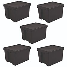 Bam Black Heavy Duty Recycled Box with Lid 45L - Set of 5