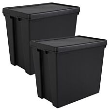 Bam Black Heavy Duty Recycled Box with Lid 92L- Set of 2