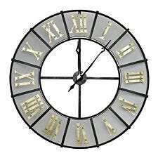 Charles Bentley Large Wrought Iron Wall Clock - Black & Gold