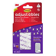 3M Command Adjustables Repositionable Clips - Pack of 12