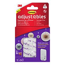 3M Command Adjustables Repositionable Hooks - Pack of 12