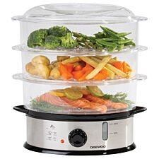 Daewoo SDA1338 1200W 9L 3–Layer Food Steamer – Silver