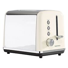 Daewoo SDA1582 Kensington 2–Slice Toaster with 6 Settings – Cream