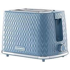 Daewoo SDA1823 Argyle 2–Slice Toaster – Light Blue